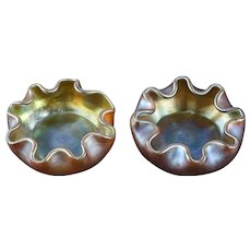 Pair L.C. Tiffany Favrile Gold Iridescent Art Glass Salt Cellars, circa v1900 Signed
