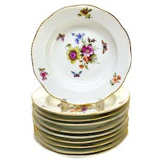 10 KPM Berlin Germany Hand Painted Porcelain Rimmed Soup Bowls, Floral Decorated