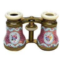 French Bronze and Enamel & Mother of Pearl Opera Glasses / Binoculars, c.1900