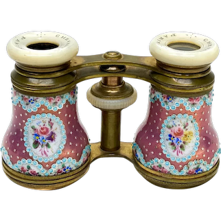 French Bronze and Enamel & Mother of Pearl Opera Glasses / Binoculars, c.1900