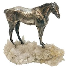 Solid Sterling Silver on Rock Crystal Geode Horse Stallion Figurine, Vintage