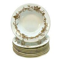 8 Minton England Porcelain Rimmed Soup Bowls, circa 1930. Gilt Vine Leaves