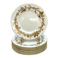 8 Minton England Porcelain Dessert Plates, circa 1930. Gilt Vine Leaves