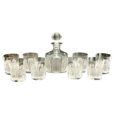 Lalique France Clear and Frosted Glass Decanter & 8 Whiskey Goblets in Khepri