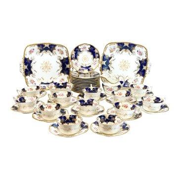 Coalport England Cobalt Blue & Gilt Porcelain Dessert Service for 12, circa 1895