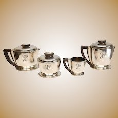 4pc Jean Puiforcat Sterling Silver Wood Art Deco Coffee & Tea Service Set c1920