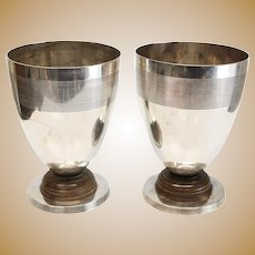 2 Christofle Silverplate and Wood Large Footed Beakers, circa 1920
