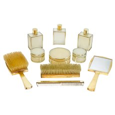 Asprey Gilt Sterling Silver and Celluloid Travel Bathroom and Vanity Set, 1961