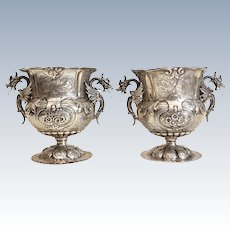 Pair Continental 800 Silver Footed Wine Coolers, Late 19th Early 20th Century