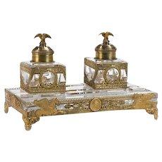 Falize French Gilt Silver & Cutglass Encrier Dual Inkwells Eagle Finials c1850