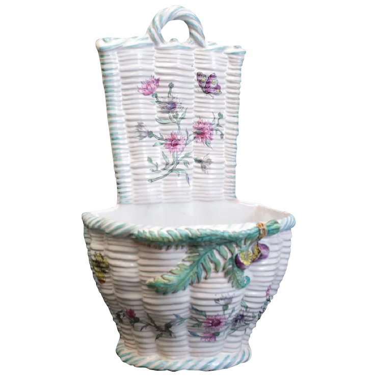 Emile Galle French Faience Wall Mount Hanging Planter Basket 19th