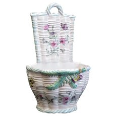Emile Galle French Faience Wall Mount Hanging Planter Basket, 19th Century