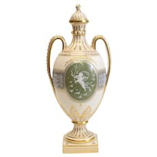 Minton Pate-Sur-Pate Decorated Porcelain Lidded Urn by L Birks, Dated 1892