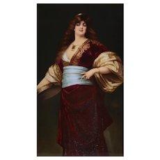 KPM Hand Painted Porcelain Portrait Plaque Lady with Tambourine, Signed c1900
