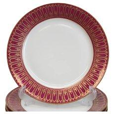 11 Sevres Porcelain Ruby Red & Gilt Dinner Cabinet Plates 1861