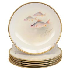 6 Royal Doulton Fish Decorated Porcelain Cabinet Plates Signed T. Wilson, c1900