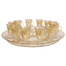 12 Gilt Intaglio Cut Glasses with Large Matching Serving Tray, 20th Century