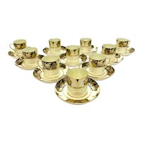 10 Westminster Series Tuscan Gilt & Black Porcelain Demitasse Cup & Saucers