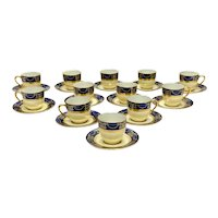 12 +1 Lenox Porcelain Cup and Saucers, circa 1920. Cobalt Blue Gilt