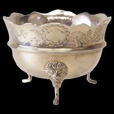 Vintage Asprey London Sterling Silver Lion Footed Open Sugar Bowl