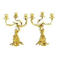 Pair Antique French Gilt Bronze Cherub or Putti Candelabras Candlesticks, 19th Century