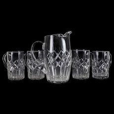 5pc Cartier Crystal Beer or Water Pitcher & Mug Set in Pattern CTC3