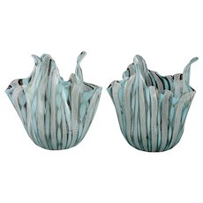 Pair Murano Venini Art Glass Latticino Blue Handkerchief Vases, c.1950