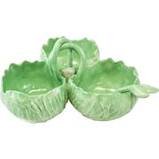 Dodie Thayer Lettuce Leaf Porcelain 3 Compartment Serving Dish with Spoon