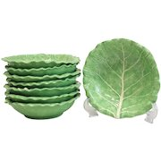 8 Large Dodie Thayer Lettuce Leaf Ware Porcelain Bowls, Hand Crafted Earthenware