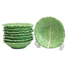 8 Large Dodie Thayer Lettuce Leaf Ware Porcelain Bowls, Hand Crafted Earthenware