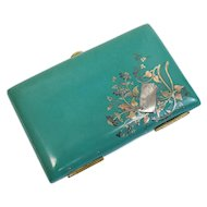 Continental Celluloid Mixed Metal Inlay Dance Card Case Holder 14k Gold Mounts