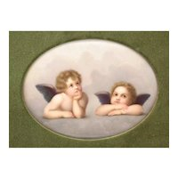 KPM Hand Painted Porcelain Plaque after Rafael in Sistine Madonna, circa 1900