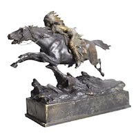 Carl Kauba (Austrian 19th C) Cold Painted Bronze Indian on Horseback Sculpture
