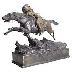 Carl Kauba (Austrian 19th C) Cold Painted Bronze Indian on Horseback Sculpture