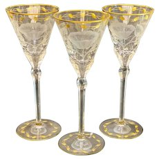 3 Moser Cut Glass & Gilt Drink-ware Service Large Wine Goblets