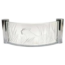 Lalique France Kora Frosted Cristalight Glass Wall Sconce, Lionness