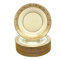10 Minton England Porcelain Dinner Plates, circa 1900. Gilt Leaves