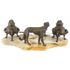Bronze & Marble Stone Inkwell Desk Set with Dog, 1st Quarter 20th Century