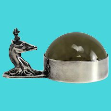 Hermes Deer Head Silver Plated Desk Magnifier, circa 1950