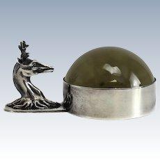 Hermes Deer Head Silver Plated Desk Magnifier, circa 1950