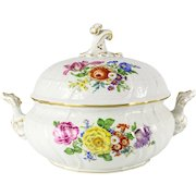 Meissen Porcelain Round Tureen Foliate scroll Finial Hand Painted Florals