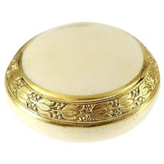 Italian 18k Gold & Guilloche Enamel Snuff Box, c1920 Hand Chased Floral Rim