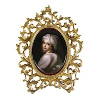KPM Hand painted Porcelain Portrait Plaque C. 1900 Gilt Bronze Beatrice Cenci