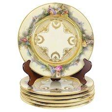 6 Royal Berlin KPM Porcelain Hand Painted Dinner Plates, circa 1920.  Figural Scene & Raised Gilt