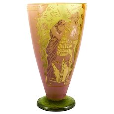 Vallerysthal Cameo Art Glass Vase, circa 1920.  Enamel Gilt Panels Maiden & Warrior