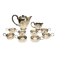 Jakob Grimminger German 835 Silver Coffee or Hot Chocolate Service Set for 8