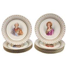 11 Manufacture De Sevres Porcelain Portrait Cabinet Plates, 1846