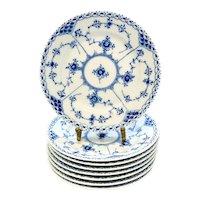 8 Royal Copenhagen Porcelain 6 inch Plates Blue Fluted Half Lace Border #575