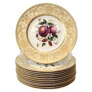 12 Royal Worcester Harry Aytron Porcelain Fruit Cabinet Plates, 1955. Signed