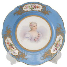 Sevres Style France Porcelain Hand Painted Portrait Plate, 19th Century. Signed